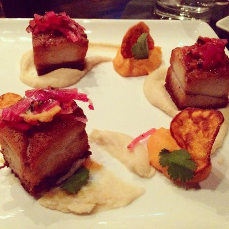 Salar Restaurant and Lounge: Pork Belly with potato duo, lima bean puree and topped with onion relish