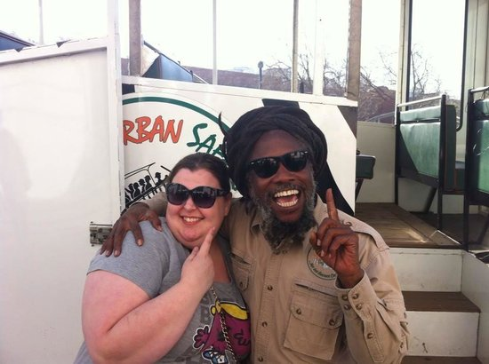 "The Urban Safari : Sharon & our ""One Love"" driver."