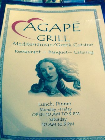 Agape Grill: front Manu