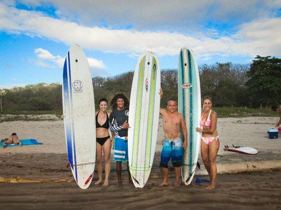 "Nosara Tico Surf School : Rebecca, Luigi, Kemper and Alex on ""graduation day""."
