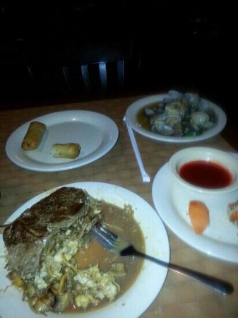 Koi Japanese Buffet: the steak with hibachi grill spring roll clams in bean sauce