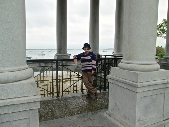 Plymouth Rock: Margaret at the rock monument