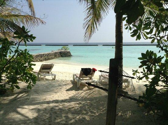 Veligandu Island Resort & Spa : Aussicht auf Wellenbrecher, jacuzzi beach villa