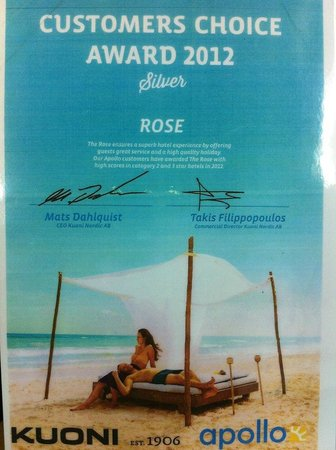 Hotel Rose: customers choice award Thank you so much <3
