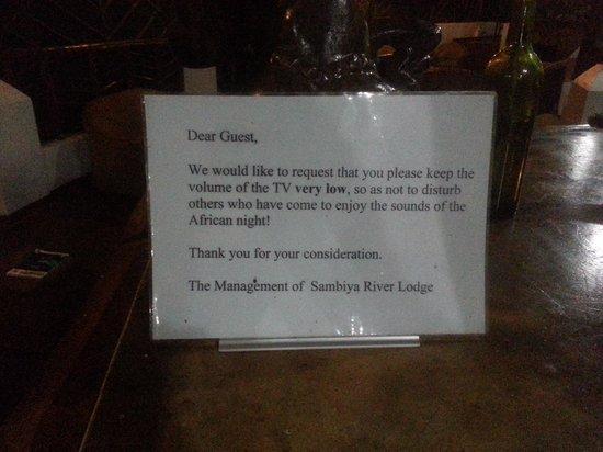 Sambiya River Lodge: Sign in Lounge