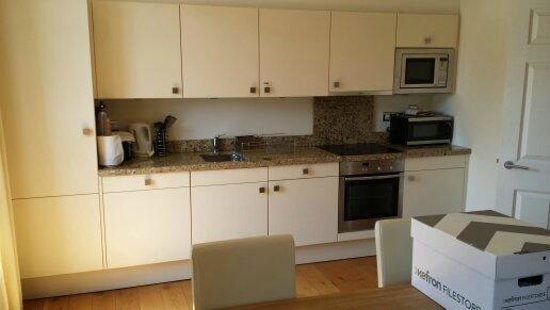 College View Apartments: Kitchen area of room