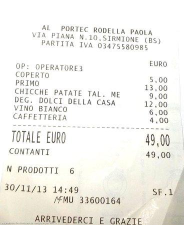 Al Portec: Scontrino pasto rapido per 2
