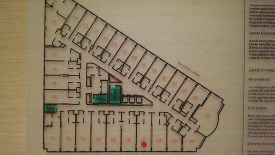 Ramada Plaza Istanbul City Center: Пример расположения номеров на 1-ом этаже
