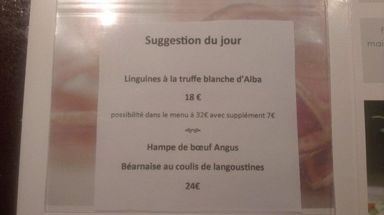 Restaurant Au Gout Du Jour : Suggestion 18 janviet