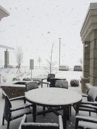 Hilton Garden Inn Dayton South-Austin Landing: Outside on Hotel January 2014 Snowfall