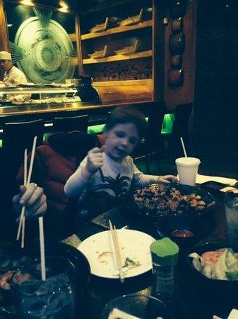 Murasaki: eating with chop sticks love the filet dinner