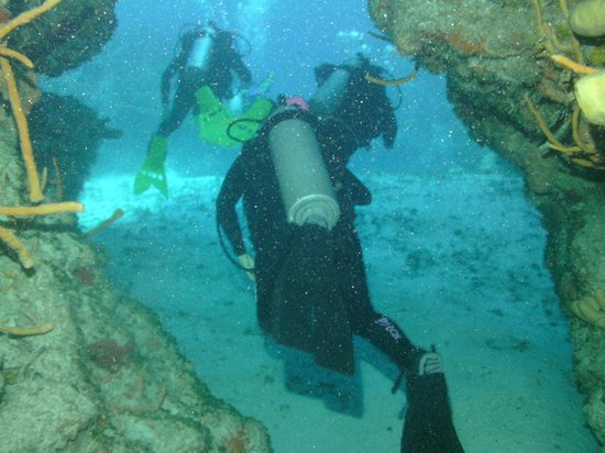 Scuba Club Cozumel: One of many swim throughs while diving