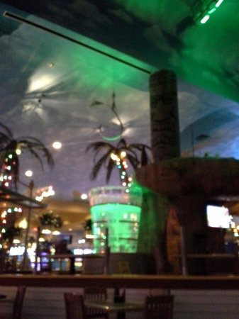 Margaritaville Casino : Volcano show a girl slides down the slide into this blender and gets on that hook and spins arou