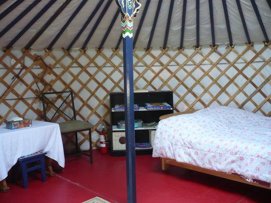 Waldersee, Canada: peak inside the blue yurt