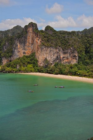 Pranang Cave: View from the rappel exit. Railay beach and tiger wall facing us.