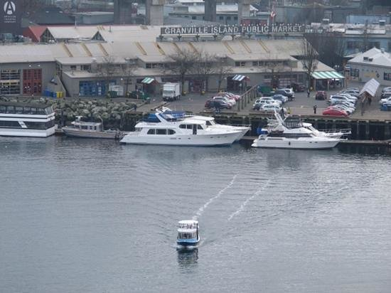 looking down to Granville Island from the Burrard Bridge