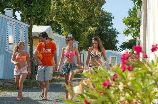 Camping Campeole La Redoute : Allée du camping avec mobile home
