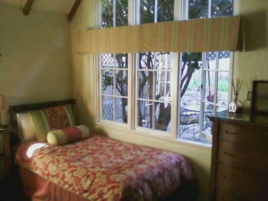 Edgemere Cottages: view from the Rosemont bedroom - bed shown is the extra bed