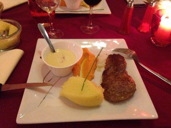 Le nouveau monde : Faux filet de bœuf et ses purées