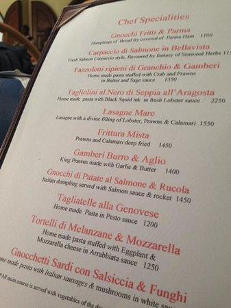 La Dolce Vita: il menu