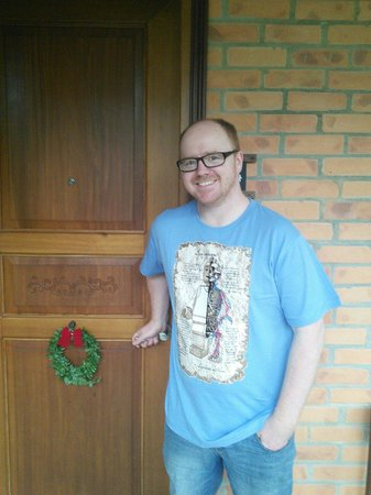 Pilgrimage Village: Festive decorations on our door ��