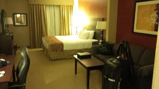 Wingate By Wyndham Dallas / Las Colinas: Spacious room, with curtains showing upstairs leak