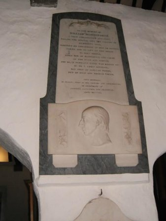 St. Oswald's Church: Memorial to William Wordsworth near the altar