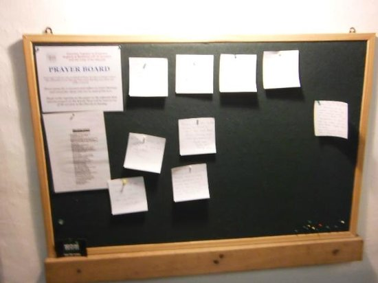 St. Oswald's Church: The prayer board - you can ask for the church to pray for somebody who needs help in a crisis.