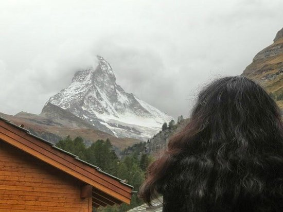 Europe Hotel & Spa: Matterhorn view (waiting for the cloud to clear)
