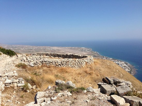 Ancient Thera : View from the top with the airport in the background