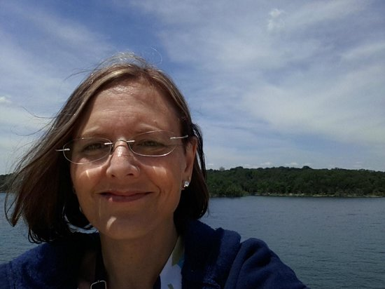 Showboat Branson Belle: This is me on the top deck of the Branson Belle beautiful scenery!