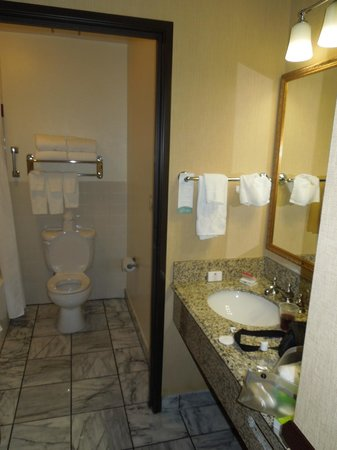 Folk Inn Ontario Airport: Bathroom sink outside toilet/shower rm 229