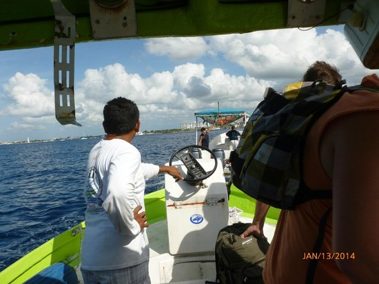 Cozumel Reef Snorkeling and Sailing Adventure: Our Radali Tour boat being towed in