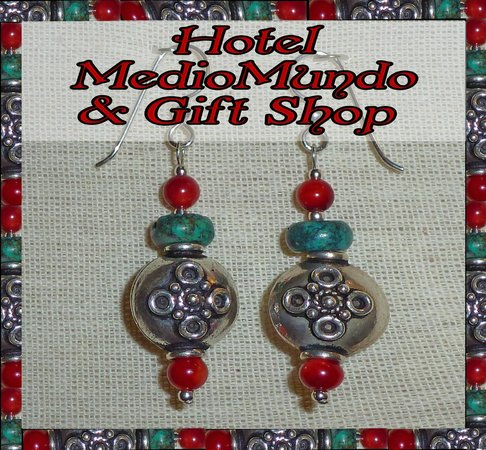 Hotel Medio Mundo Gift Shop: Our exclusive line of earrings made from exotic beads from around the world
