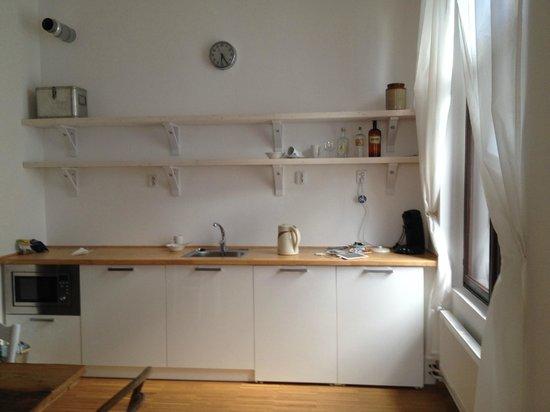 NYX Prague: Kitchenette with coffee machine, microwave etc.