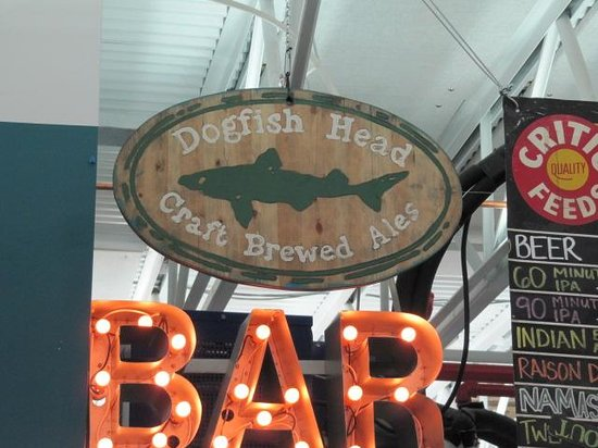 Dogfish Head Craft Brewery: Dogfish Brewery above the bar