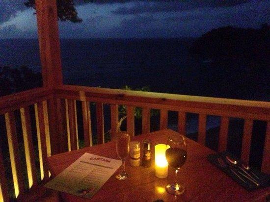 Caribbean Kitchen at Castara Retreats: Our table overlooking the bay of Castara