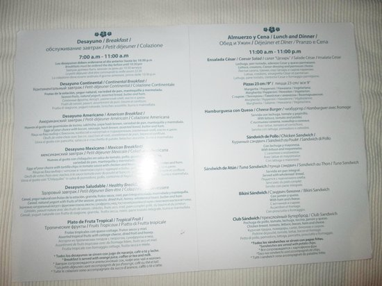 Breakfast menu at the terrace picture of catalonia playa for The terrace menu
