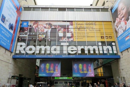 Stazione Termini: The famous Roma Termini Sign above a side entrance and exit