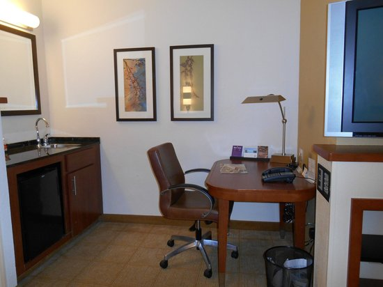 Hyatt Place Busch Gardens: mini bar and desk
