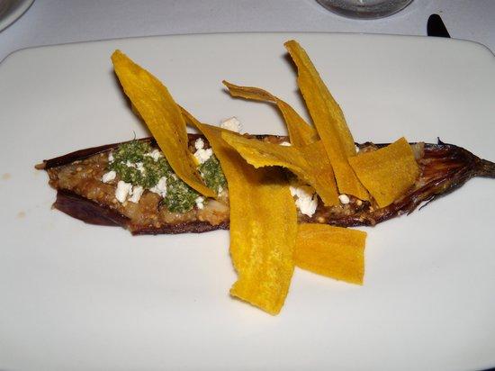 Maito: Fire roasted eggplant ,feta, and pesto