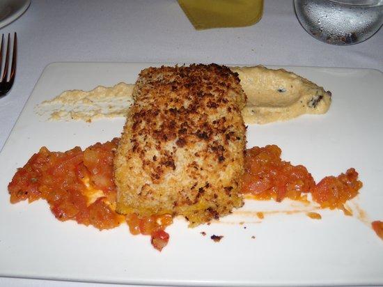 Maito: Dijon glazed Salmon w/ polenta & tomato relish