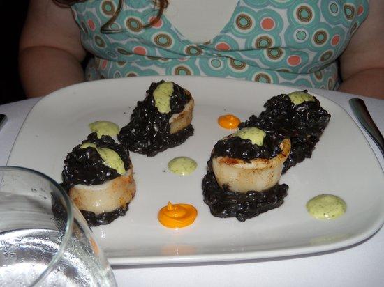 Maito: Calamari stuffed w shrimp & risotto