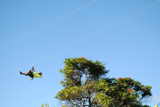Maui Zipline Company: One of the guides being silly and making my boys feel at ease