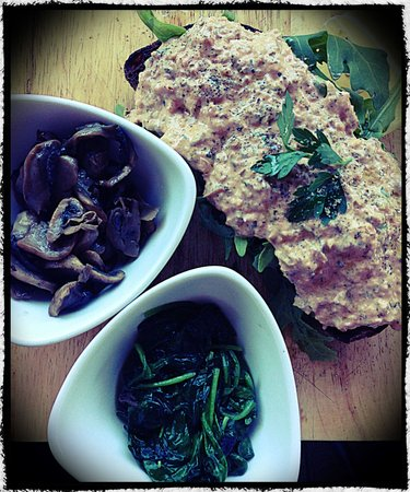 The Runaway Spoon: Crushed Salmon on Turkish with a side of mushrooms and spinach. Skim photo