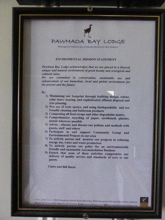 Pawhaoa Bay Lodge: Environmental Policy