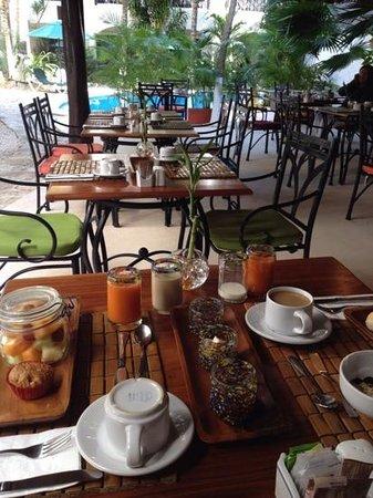 Illusion Boutique Hotel by Xperience Hotels: Área de restaurate y alberca, mostrando nuestro exquisito desayuno continental.