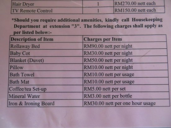 Damai Puri Resort & Spa: Extra charges