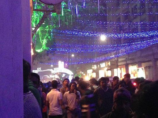 The Park Kolkata: Park Street outside the hotel NYE