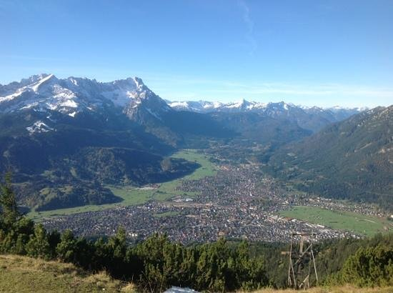 the green of Garmisch Partenkirchen below from top of Wank mountain